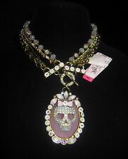 BETSEY JOHNSON GIRLIE GRUNGE SKULL BEADED STATEMENT NECKLACE