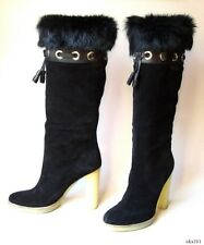 new GUCCI black suede FUR lined grommets tassels logo TALL BOOTS 8.5 - gorgeous