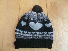 MONSOON ACCESSORIZE BLACK FAIRISLE HEART WOOL ANGORA RICH BOBBLE HAT ONE SIZE