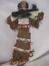 NORTH AMERICAN BEADED LEATHER DOLL, NORTHERN PLAINS DOLL, HAND MADE W/REAL HAIR