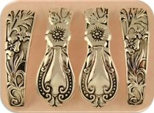 2 Hole Slider Beads Cutlery / Spoon Pattern Bangle Bars Raised Filigree ~ QTY 4