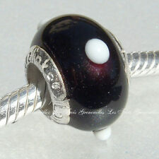 Lovelinks Bead Sterling Silver, Murano Glass Black White Dot Charm Jewelry L40
