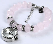Henley Ladies Charm Bracelet Watch Dusky Pink Beads Real Crystal, Xmas Gift Idea