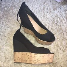 JUST FAB Black Wedges, Size 5.5, Brand New