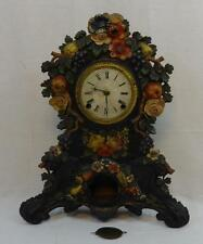 Antique Ornate Cast Iron & Wooden Mantle Clock Polychrome Painted