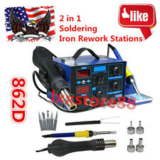2 in 1 Soldering Iron Rework Stations SMD Hot Air Gun Desoldering Welder 862D+L8