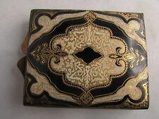 ancienne boite a poudre poudrier cuir et bronze epoque 1940