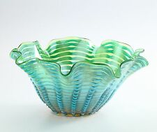 "New 14"" Hand Blown Glass Art Vase Bowl Blue Green Handkerchief Ruffle Decorative"