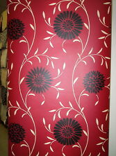 DARK RED, BLACK AND CREAM MODERN DAISY / FLORAL WALLPAPER # 218