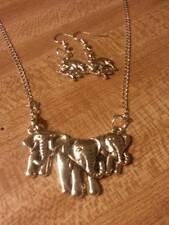 925 sterling silver chain tibetan silver elephant pendant/earrings vintage