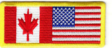 CANADA & UNITED STATES FLAG w/YELLOW BORDER-Iron On Embroidered Patch