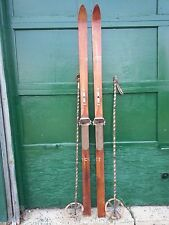 "VINTAGE Wooden 77"" Skis with Bindings Has OLD Patina Finish + OLD Bamboo Poles"