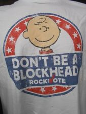 Mens Licensed Peanuts Charlie Brown Don't Be A Blockhead Vote Shirt New XL