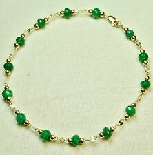 14k solid y/gold 4.5x3.5mm faceted rondelle real Emerald bracelet 7.1/2 inches