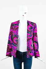 VINTAGE Gianni Versace Purple/Fuchsia/Gold Wool Printed Jacket SZ 38