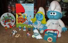 HUGE VTG PEYO SMURF LOT PLUSH BABY PVC FIGURES 1982 XMAS PLATE 1ST ED ORNAMENT +