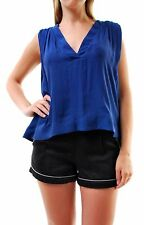 Free people Women's Darcy Super V Cap Solid Tank Top Blue XS RRP £60 BCF66