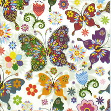 4x unica tavola FESTA TOVAGLIOLI carta per decoupage Decopatch Colorful BUTTERFLY