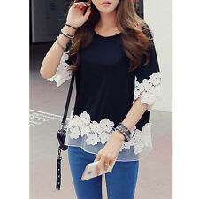 Korean Women Half Sleeve Tops Casual Blouses Patchwork Shirts Loose