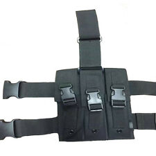 New Airsoft Quick Release MP5 Drop Leg Triple Mag Pouch Holder Black