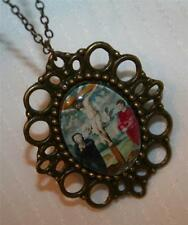 Picot Brasstone John Mary at the Foot of The Cross Glass Cameo Medal Necklace