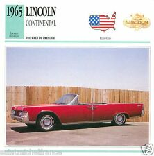 LINCOLN CONTINENTAL 1965 CAR VOITURE UNITED STATES ÉTATS UNIS CARTE CARD FICHE