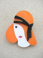 NEW DESIGN!! Orange, Black & White Lucite? Lady With Hat Brooch