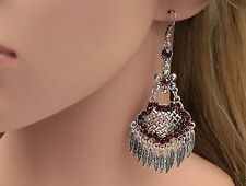 Gipsy cherry red crystal chandelier old silver birthday gift hook earring B42