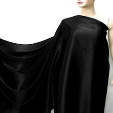 Black 100% Pure Silk Charmeuse Satin Fabric Dressmaking per Yard Crepe Back