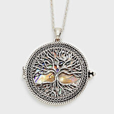 "Magnifying Glass Necklace Tree of Life Pendant SILVER ABALONE 33"" Long Jewelry"