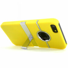 Deluxe Yellow Hard Case Cover With Chrome Stand for Apple iPhone 5  5S SE NEW