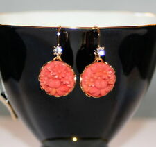Vintage Japan coral pressed carved etched glass floral brass dangle earrings