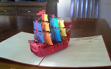 3D Giant Ship /Sailing Boat Handmade Pop up Greeting Card