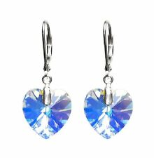 Swarovski Elements Crystal Love Heart Sterling Silver Leverback Dangle Earrings