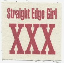 'Straight Edge Girl XXX' CLOTH PATCH -sew on **FREE SHIPPING** punk hardcore sxe