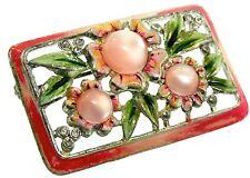1930s Coro Moonglow Glass Cabochon Enamel Rhinestone Framed Flower Brooch Pin