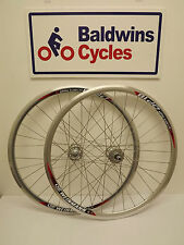 700c PAIR FIXIE Bike / Cycle Wheels FLIP FLOP Hubs - SILVER Weinman Rims