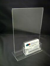 2 X A5 CLEAR ACRYLIC TABLE TOP MENU PRICELIST HOLDER & BUSINESS CARD DISPENSER
