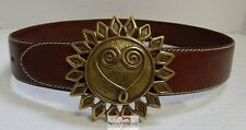 Moschino Redwall Italy sz 40 euro Brown Leather Sun Heart Love Belt