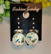 HANDMADE Clip On Cabochon Circle Glass Blue Birds Picture Earrings