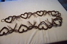 Primitive Grapevine Hearts and Bows Garland 66""