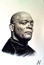 Samuel L. Jackson - ritratto portrait grafite e carboncino cm. 33 x 48