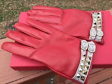 NWT/NIB$525 Valentino Red Leather Gold Rockstud Beige Double Strap Gloves 8 L XL