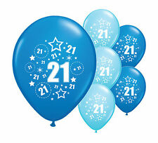 "8 x 21ST BIRTHDAY BLUE MIX 12"" HELIUM OR AIRFILL BALLOONS (PA)"