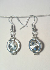 Dangle earrings - sparkly metal bead in circle