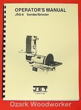 "JET/Asian JSG-6 6"" x 48"" Belt / 12"" Disc Sander Instructions & Parts Manual 0875"