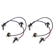 2 Set Wiring Harness Prewired Kit 3-500k Pots Jack for Jazz Bass Guitar Parts