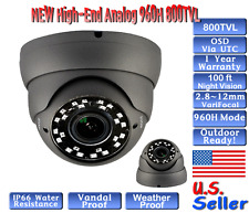 """1/3"""" HDIS 960H 800TVL 2.8-12mm Vandalproof In/Outdoor Dome Security Camera"""