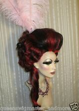 Drag Wig Costumes Big Casanova Black Red Chunky Hi Lites Pompador & Tail & Curls