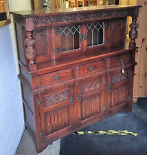 Old Charm Hunsdon Court Cupboard Solid Oak Tudor Brown Finish